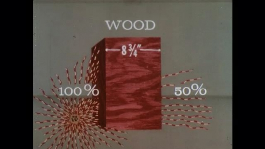UNITED STATES: 1960s: effect of radiation on materials. Wood sheathing, glass, brick, concrete, earth, and wood.