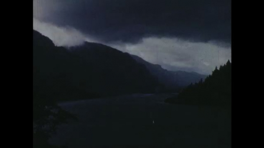 UNITED STATES: 1960s: view over river. Salmon in river. River view