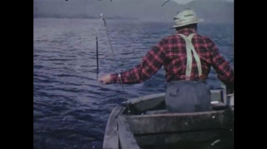 UNITED STATES: 1960s: fisherman pulls in catch of Pacific Salmon. Boat on water