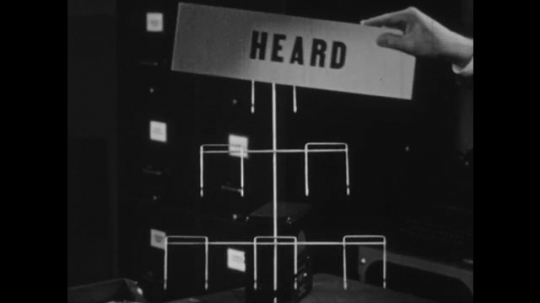 UNITED STATES: 1950s: hand puts signs on frame. Man talks to camera. Man points to heard, understood, pleasing words.