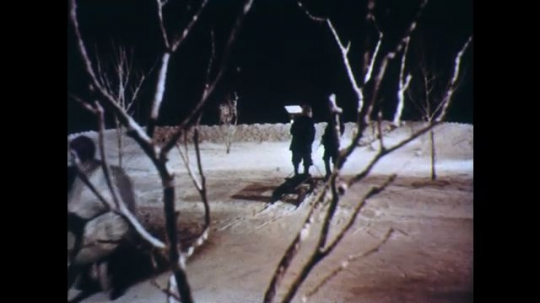 UNITED STATES: 1950s: boys walk in snow. Lady and man look through window.