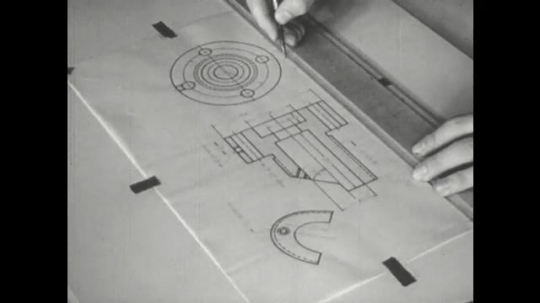 UNITED STATES: 1960s: fingers use triangle set to draw marks on paper.