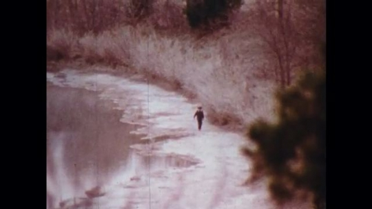 UNITED STATES: 1970s: boy walks along track in forest. Lady on telephone. Man in woods