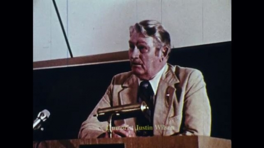 UNITED STATES: 1970s: Man gives lecture to new police recruits.