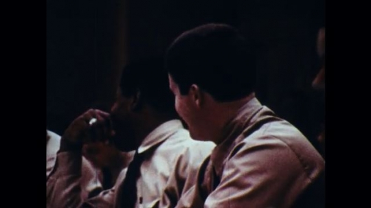 UNITED STATES: 1970s: police recruits in lecture theatre. Officer training academy.