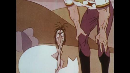 UNITED STATES: 1950s: cartoon man speaks to bird in egg shell. Bird grows up.