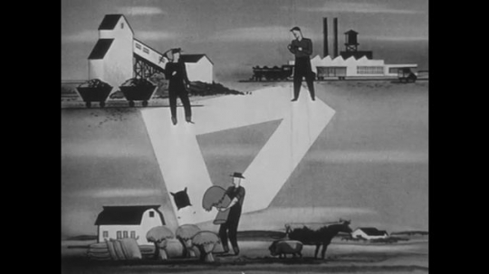 1950s: Animation of goods moving between mine, farm and factory.