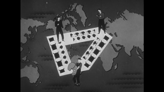 1950s: Animation of goods moving between mine, farm and factory; products appear on map of world.