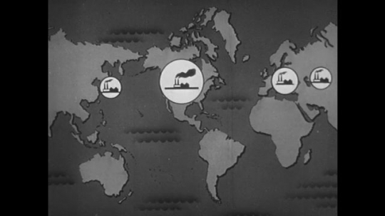 1950s: Animation of factories on map of world. Animation of traffic moving between factories.