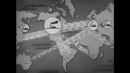 1950s: Animation of traffic moving between factories. Animation of goods moving between mine, farm and factory. Officer talks into camera. Inspector looks at goods.
