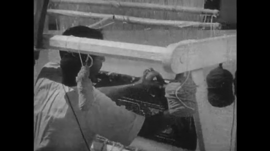 1950s: Man at loom. Hands cut edge of rug. Hands picking leaves. Man harvesting from plant. Man in factory. Man welding. Man spins cotton in factory.