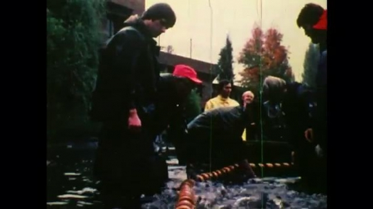 1970s: UNITED STATES: fish farming. People catch fish in net. Fish eggs