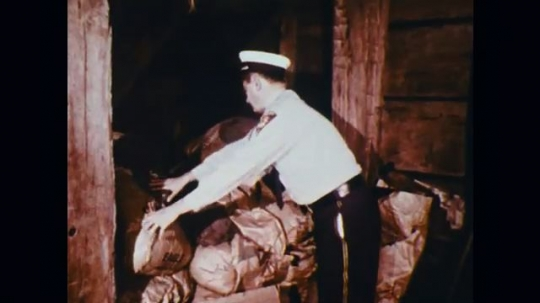 1950s: UNITED STATES: man checks attic for fire hazards. Sacks in loft. Wires in roof