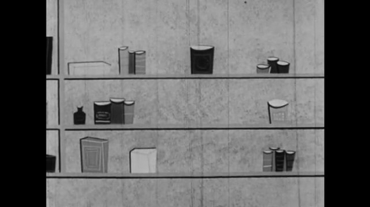 1950s: UNITED STATES: cartoon of supplies on shelf. Fallout supplies and emergency kit