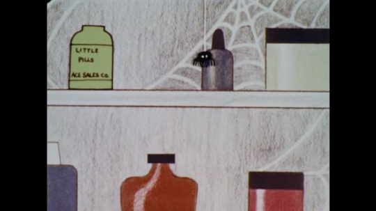 1960s: UNITED STATES: cartoon spider in medicine cabinet. Hand takes bottle from shelf. Man  takes medicine