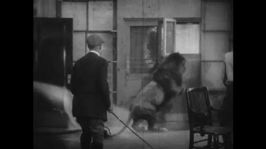 1920s: firehose spray chases lion across room and into cage that man locks shut. woman crawls from hole in door, talks to men and walks away.