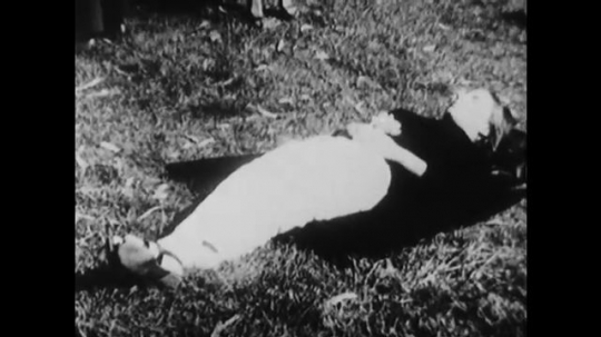 1960s: Woman sleeps on grass, people walk around, tilt up to crowd, zoom in on art object held by man.