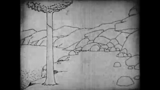 1910s: Animation, dinosaur walks out of cave, eats rock, eats tree.