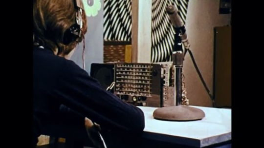1970s: UNITED STATES: boy by radio. Girl speaks to camera. Girl with spanner. Boy exercises. Boy with headphones