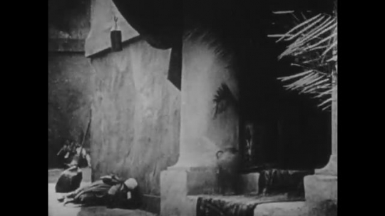 1910s: UNITED STATES: palm tree by building. Ladies stand in street. Ladies look sad. Wind blows