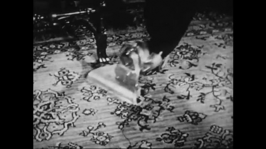 1940s: UNITED STATES: vacuum cleaner on carpet. Feet get off bus. Sewing machine.
