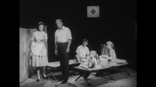 1950s: Nurse explains improvised shelter to father. Father nods, nurse leaves room. Father explains improvised shelter to children and wife. Family sits in red cross shelter.