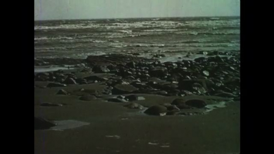 1950s: Rocky ocean shore. Sandy beach with large rock and ocean in distance, Ocean tide comes in fast.