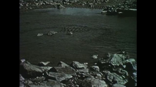 1950s: Ocean water covers rocks and sand. Sea water flows over rocky shore