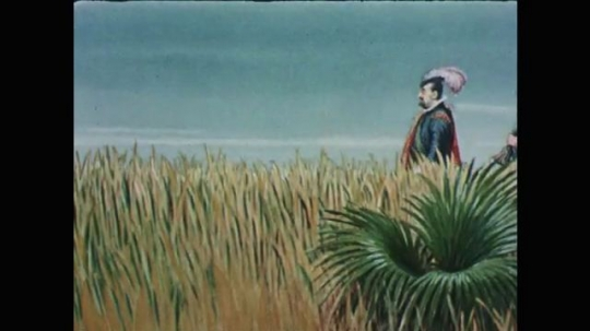 1950s: Animation. Three explorers walk through tall grasses. Third explorer carrying gunpowder drops out of sight. Alligator appears with tongue out. Explorer on ship at sea looking pensive.