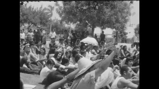 1970s: UNITED STATES: crowd chant and raise right arm. Banner on wall by man speaking