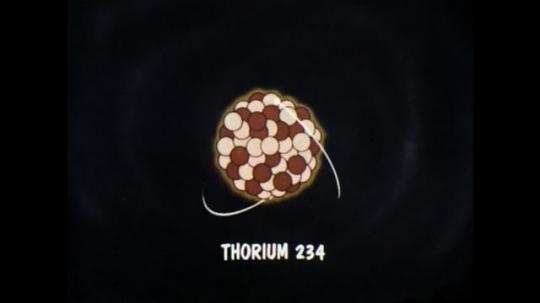 1970s: UNITED STATES: animation of thorium 234 molecule. Protactinium 234 animation. Uranium 234 animation. Thorium 230 animation. Radium 226 animation. Radon 222 animation.