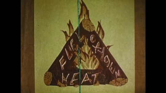 1970s: Fire safety poster. Fire triangle.