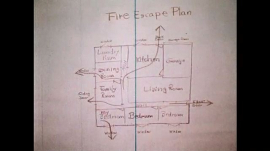 1970s: Fire escape plan. Hand points at fire escape plan. Boy unscrews door from refrigerator.