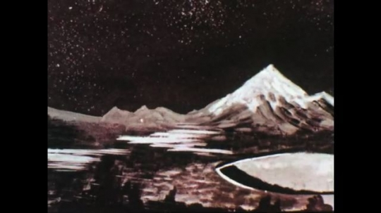 1960s: Animated images of mountainous terrain. Rocky land, Flat land,