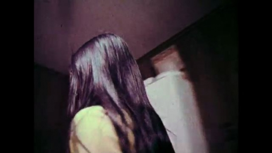 1970s: Girl walks to refrigerator, opens it. Girl opens cabinet. Girl closes door. Girl steps outside and waves.