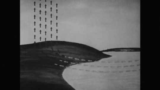 1950s: Animation shows air moving across surface of water during day, reaching land, and pushing upward. In evening, air moves across land and pushes upward when it reaches water.