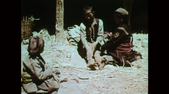 1950s: Family sits on ground. Woman rubs man