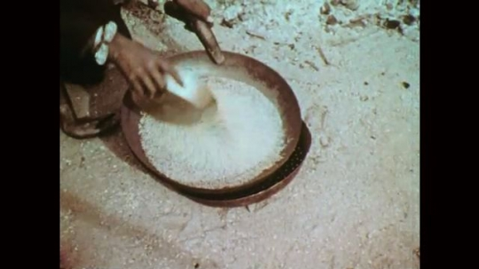 1950s: Hand pours grain into pan. Hands toss grain over heat. Woman shakes pan. Man sorts grain.