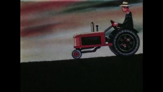 1950s: Animation of man riding tractor, trailing behind tractor is work