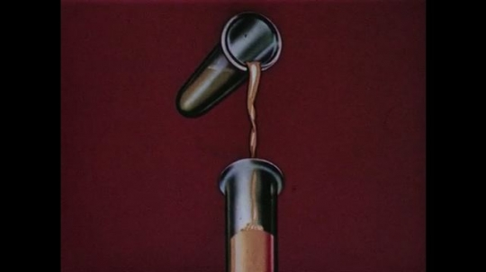 1950s: Animation: test-tube pours liquid into another test-tube. Liquid in test-tube changes colors. Words