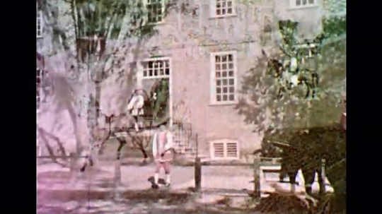 1950s: UNITED STATES: man outside building. Horse and cart arrives at building. Drawing of house and carts.