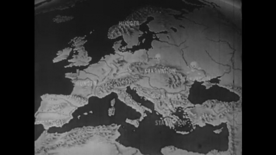Europe 1940s:  map of Europe. Map shows starvation and hunger. Grave yards and crosses in rubble. Russian and Polish sign post