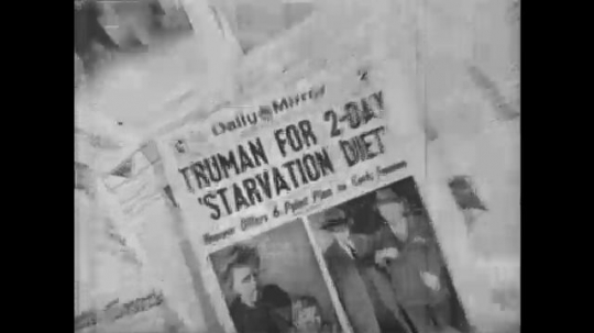 Europe 1940s: newspaper headlines about feeding the world.