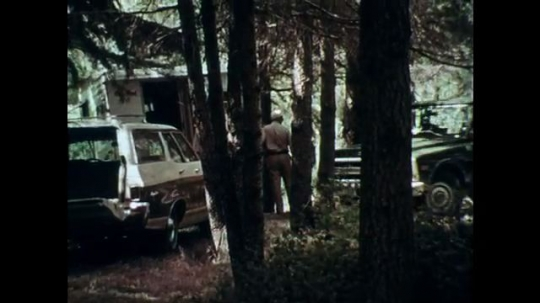 1970s: UNITED STATES: truck pulls up by house. Man walks in street. View through window of truck. Men speak in woods
