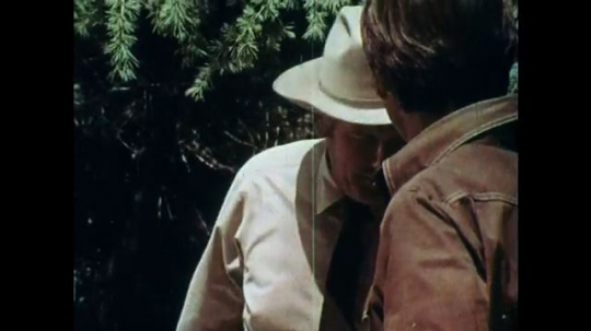 1970s: UNITED STATES: men speak in woods. Man looks for bucket of water. Man points to trail.