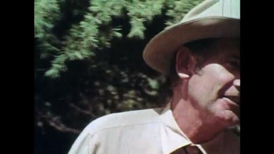 1970s: UNITED STATES: man speaks to warden. Men speak in woods. Boy plays with matches.