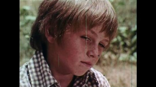 1970s: UNITED STATES: close up of boy's face. Man speaks to children in woods.