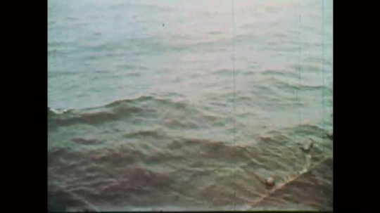 1970s: Water. Net in water. Men lean against railing of boat. Fishing boat on water. Man in the bridge of boat. Net being pulled from water.