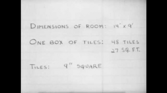 1950s: Penciled calculations on paper. Dimensions of room and calculations of tile required.