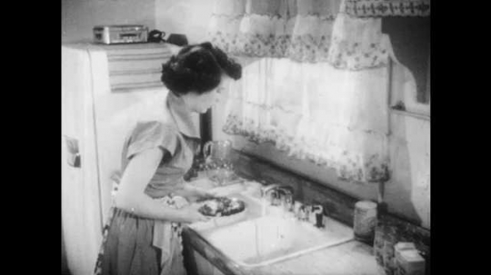 1950s: UNITED STATES: lady washes meat in sink. Lady soaks towel in water. Smoke from electrical cord on kettle